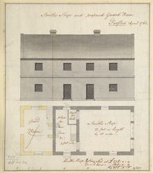 A plan and elevation of the smith's shop and proposed guardroom at Purfleet